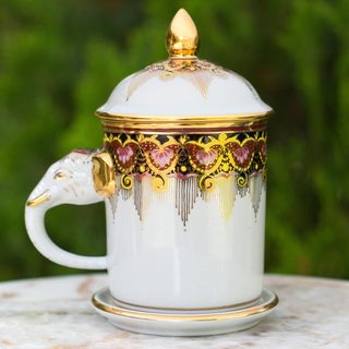 Handmade Benjarong Porcelain 'Thai Iyara' Mug and Saucer (Thailand)