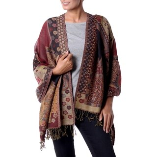 Handmade Jamawar Wool 'Modern Paisley Mix' Shawl (India)