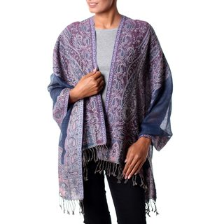 Handcrafted Jamawar Wool 'Orchid Paisley' Purple Shawl (India)