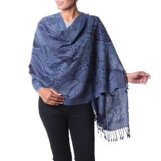 Handcrafted Jamawar Wool 'Blue Splendor' Shawl (India)