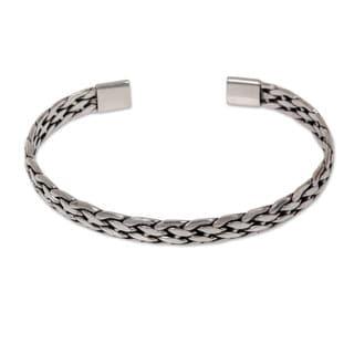 Men's Handcrafted Sterling Silver 'Nusa Penida Waves' Cuff Bracelet (Indonesia)