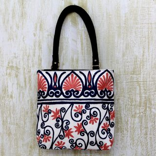 Handmade Cotton Leather Accent 'Peach Blossom' Tote Handbag (India)
