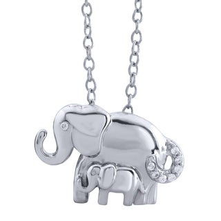 ASPCA Tender Voices Sterling Silver Mom and Child Elephant Diamond Accent Necklace