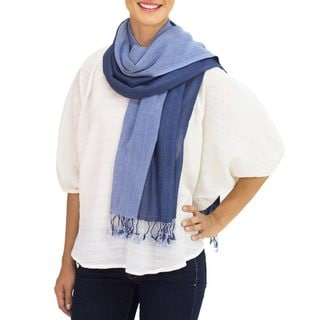 Handcrafted Cotton 'Blue Duet' Scarf (Thailand)