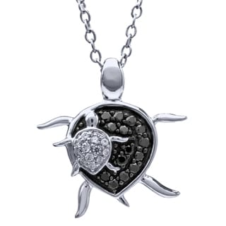 0.20 carat total weight Turtle Pendant in Black and White Diamond with Sterling Silver