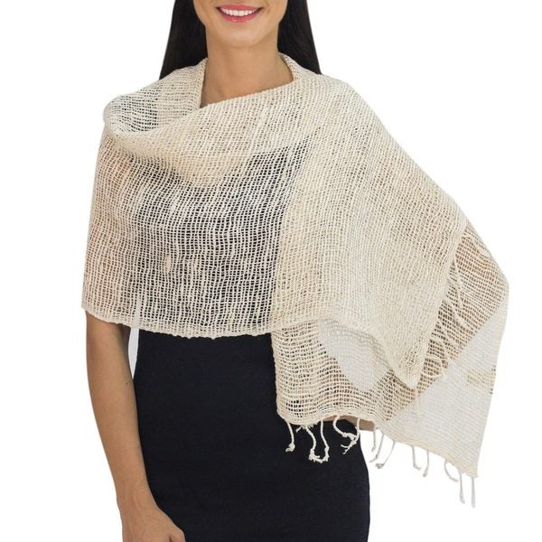 Handmade Cotton 'Breeze of Nature' Shawl (Thailand). Opens flyout.