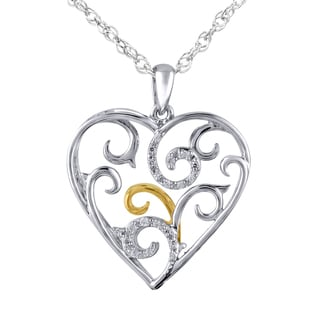 Bridal Symphony Sterling Silver Diamond Accent Heart Pendant