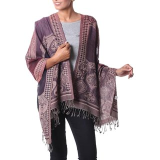 Handmade Jamawar Wool 'Exotic Wine' Shawl (India)