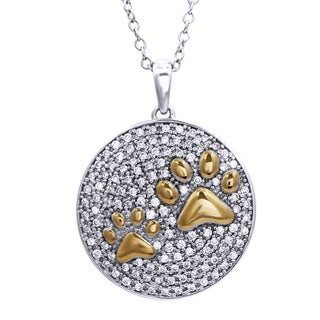 Bridal Symphony Sterling Silver with Yellow Gold Plate 0.52CTtw Diamond Circle Paw-print Pendant (I-J, I3+)
