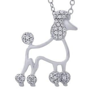 Bridal Symphony Sterling Silver 0.16CTtw Diamond Poodle Pendant (I-J, I3)