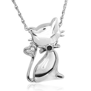 ASPCA Tender Voices Sterling Silver Cat Pendant Diamond Accent Necklace (I-J, I3)