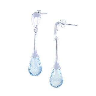 14k Gold Blue Topaz Tear Drop Earrings