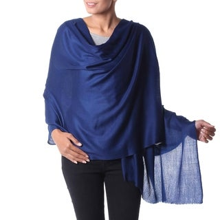 Handcrafted Wool 'Valley Mist in Cobalt' Blue Shawl (India)