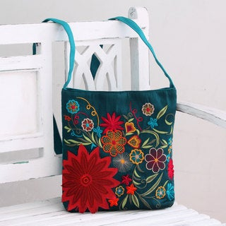 Handcrafted Polyester 'Indian Garden' Embroidered Shoulder Bag (India)