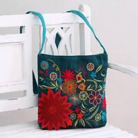 Handmade Polyester 'Indian Garden' Embroidered Shoulder Bag (India)