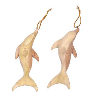 Set of 3 Handcrafted Jempinis Wood 'Friendly Dolphin' Ornaments (Indonesia)