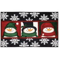 Nourison Accent Décor Three Snowmen Faces Black Accent Rug (1'6 x 2'6)