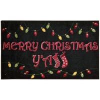 Nourison Accent Décor Merry Christmas Y'All Black Accent Rug (1'6 x 2'6)