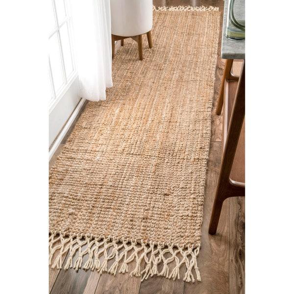 Nuloom Handmade Chunky Jute Wool Tassel Natural Runner