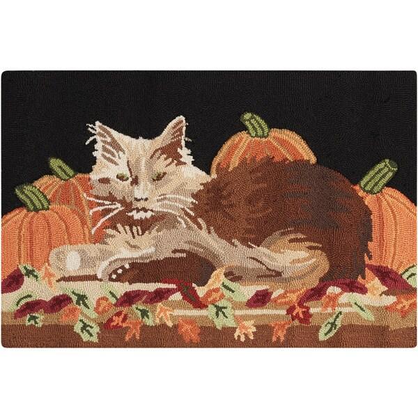 "Nourison Everywhere Cat & Pumpkins Black Accent Rug (1'8 x 2'8) - 1'8"" x 2'8"""