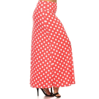 Women's Plus Size Rayon and Spandex Polka Dot Maxi Skirt