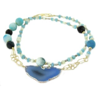One-of-a-kind Michael Valitutti Large Blue Agate Slice with Multi-Gemstone Bead Necklace