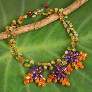 Handmade Steel 'Lilac Geranium Trio' Carnelian Amethyst Necklace (Thailand)