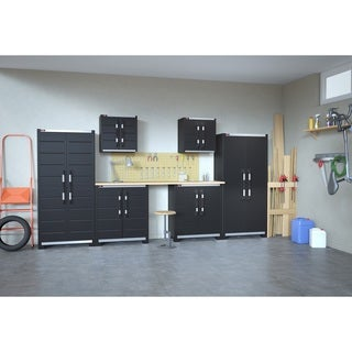 Ready To Assemble XL Pro Garage System Utility Tool Black Storage Cabinets (Set of 6)