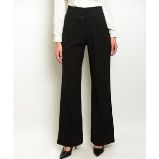 JED Women's Solid Black Stretchy High-waist Wide-leg Pants