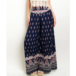 JED Women's Blue Rayon Extra-wide-leg Boho Palazzo Skirt Pants
