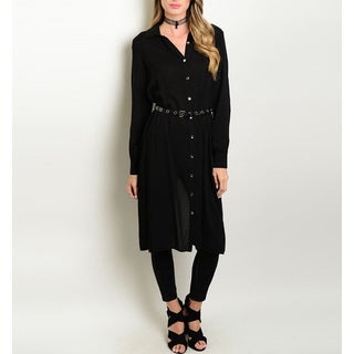 JED Women's Black Polyester Long-sleeved Belted Button-down Tunic Shirt
