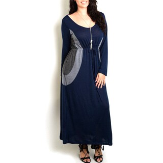 JED Women's Rayon Plus-size Color-block Long-sleeved Maxi Dress