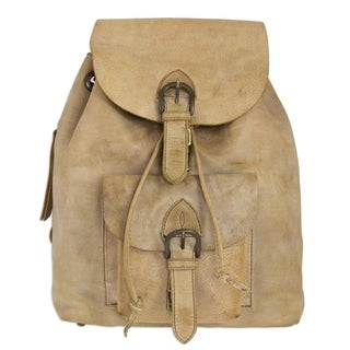 Handcrafted Leather 'Taupe Highroad' Backpack (Mexico)