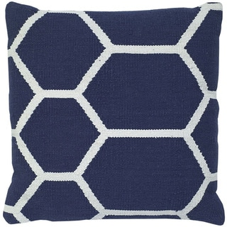 Navy Blue/ White Cotton 20-inch Square Decorative Throw Pillow