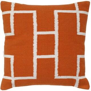 Orange/White Cotton Decorative Throw pillow