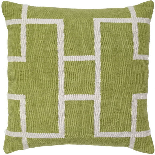 Kiwi/White Cotton 20-inch x 20-inch Decorative Throw Pillow