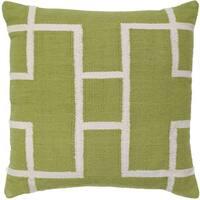 Kiwi/White Cotton 20-inch x 20-inch Decorative Throw Pillow