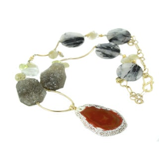 One-of-a-kind Michael Valitutti Large Red Agate Slice with Multi-Gemstone Bead Necklace