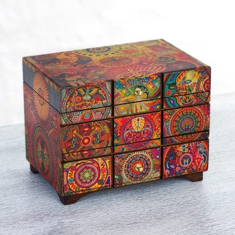 Handmade Pinewood 'Huichol Portal' Decoupage Jewelry Box (Mexico)