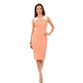 Key Hole Coral Mid Dress w/ Fagoting Inserts Size 10 in Coral/ Off-White (As Is Item)