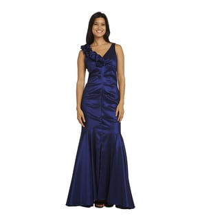 R&M Richards Women's Blue/Grey Nylon/Polyester/Spandex Evening Gown