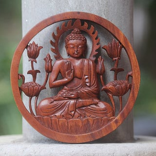 Handcrafted Suar Wood 'Blessing Buddha' Wall Relief Panel (Indonesia)
