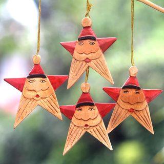 Set of 4 Albesia Wood 'Red Santa Stars' Christmas Ornaments (Indonesia)