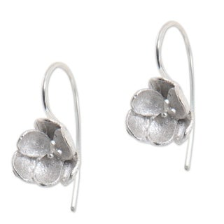Handmade Sterling Silver 'Petite Camellia' Earrings (Indonesia)
