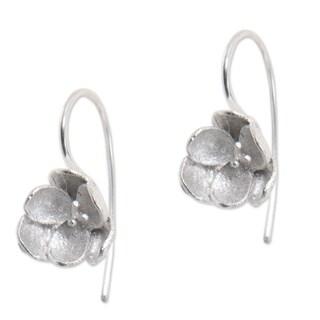 Handmade Sterling Silver 'Petite Camellia' Earrings (Indonesia)