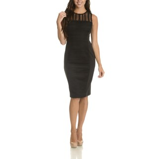 Taylor Women's Black Polyester/Spandex Lace-overlay Panel-front Dress (5 options available)