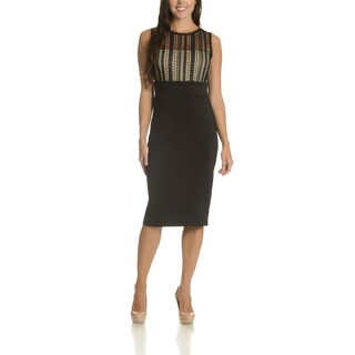 Taylor Women's Black Polyester/Spandex Lace Overlay Bodice Dress