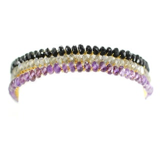 One-of-a-kind Michael Valitutti Black Onyx, Amethyst and Labradorite Stacking Bangle Bracelets