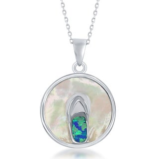 La Preciosa Sterling Silver Mother of Pearl & Opal Circle Pendant