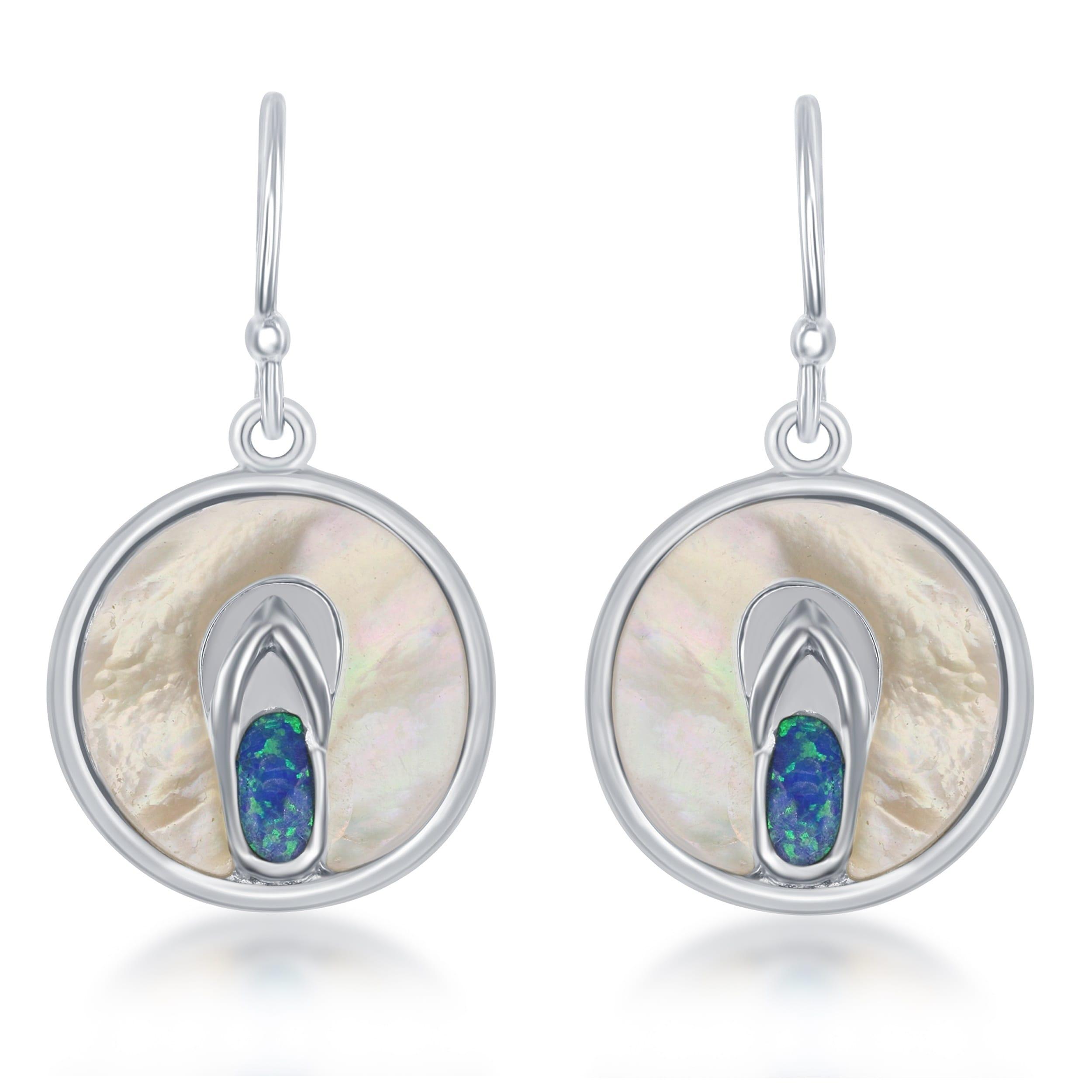 silver hoops Mother of pearl and opal earrings Opal silver Earrings hoop round earrings Pearl floral sterling silver floral earrings